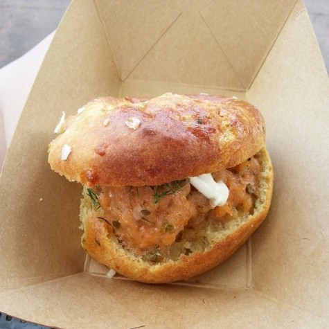 Potato & cheddar cheese biscuit with salmon tartare from the Buttercup Cottage in the UK pavilion.