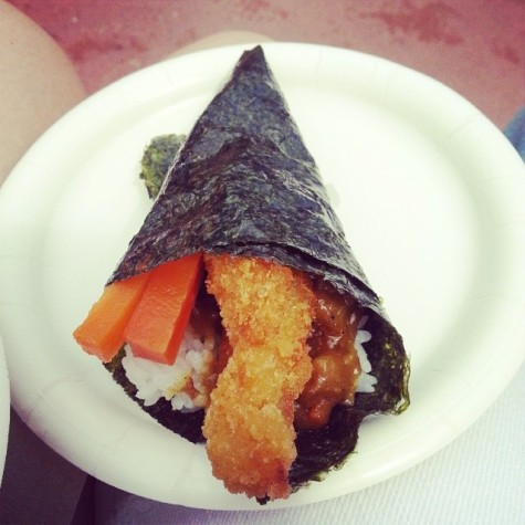 Temaki chicken hand roll in Japan! Very yummy and quite the portion!