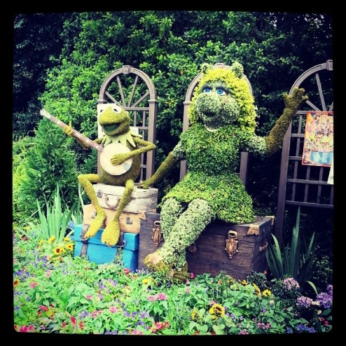 Muppets Most Wanted topiary.
